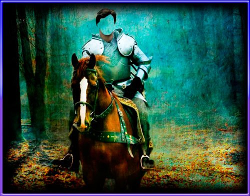 Шаблон фотошоп для фото - Рыцарь на коне в лесу