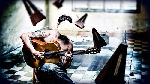 Многослойный шаблон для фото - Играя на гитаре