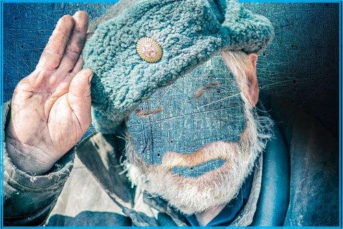 Шаблон для монтажа - Дед в теплой шапке